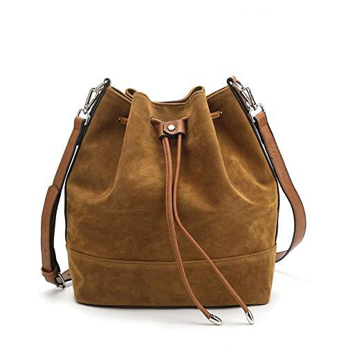 Sakilor Señoras de la moda de las señoras de gran capacidad de franela con cordón de las señoras del bolso del cubo de los bolsos de mano del bolso del mensajero del bolso del hombro-marrón