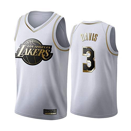 BXWA-Sports NBA Baloncesto Jersey # 3 Anthony Davis Los Angeles Lakers Platinum Fan Edition Jerseys Malla Transpirable Desgaste Resistente Uniforme Aptitud Deporte Competencia Chaleco,XXL