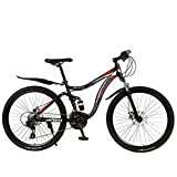 N&I Beach Snow Bicycle Adult 26 inch Mountain Bike Double Disc Brake High-Carbon Steel Snow Bikes Trail Double Shock Absorption Variable Speed Mountain Bicycles C 21 Speed a 24 Speed