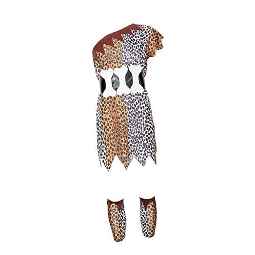 Hellery Traje de Disfraces de Aborigen Africano Indio Estampado Leopardo Ropas de Cavernícola Juedo de rol Divertido para Fiesta - Tal como se Describe, E-Hombre