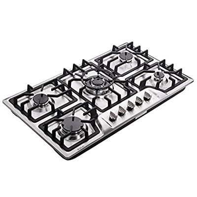Hotfield 34 Inch Gas Cooktop Dual Fuel Sealed 5 Burners Stainless Steel Gas Cooktop Drop-In Gas Hob HF825-SA03A Gas Cooker