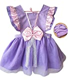 Princess Dress Up Clothes for Little Girls, Toddler Kids Snow White Sofia The First Minnie Mouse Costume Party Birthday Tulle Skirt Tutu Apron Dress(601,Purple,130)