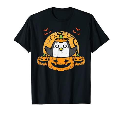 Pingüino En Calabaza Lindo Halloween Animal Hombres Mujeres Niños Camiseta