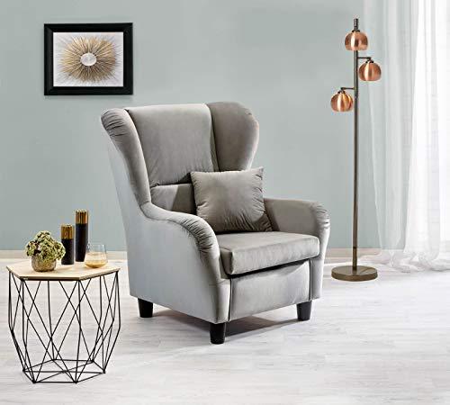 lifestyle4living Ohrensessel in grauem Samt bezogen | Der perfekte Sessel für entspannte, Lange Fernseh- und Leseabende. Abschalten und genießen!
