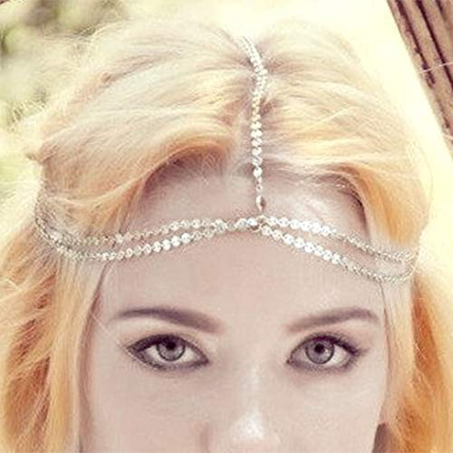 Aukmla Silver Headdress Boho Headchain Double Layer Sequin Head Chain with Crystal Dainty Hair Jewelry Accessory for Women and Girls 3