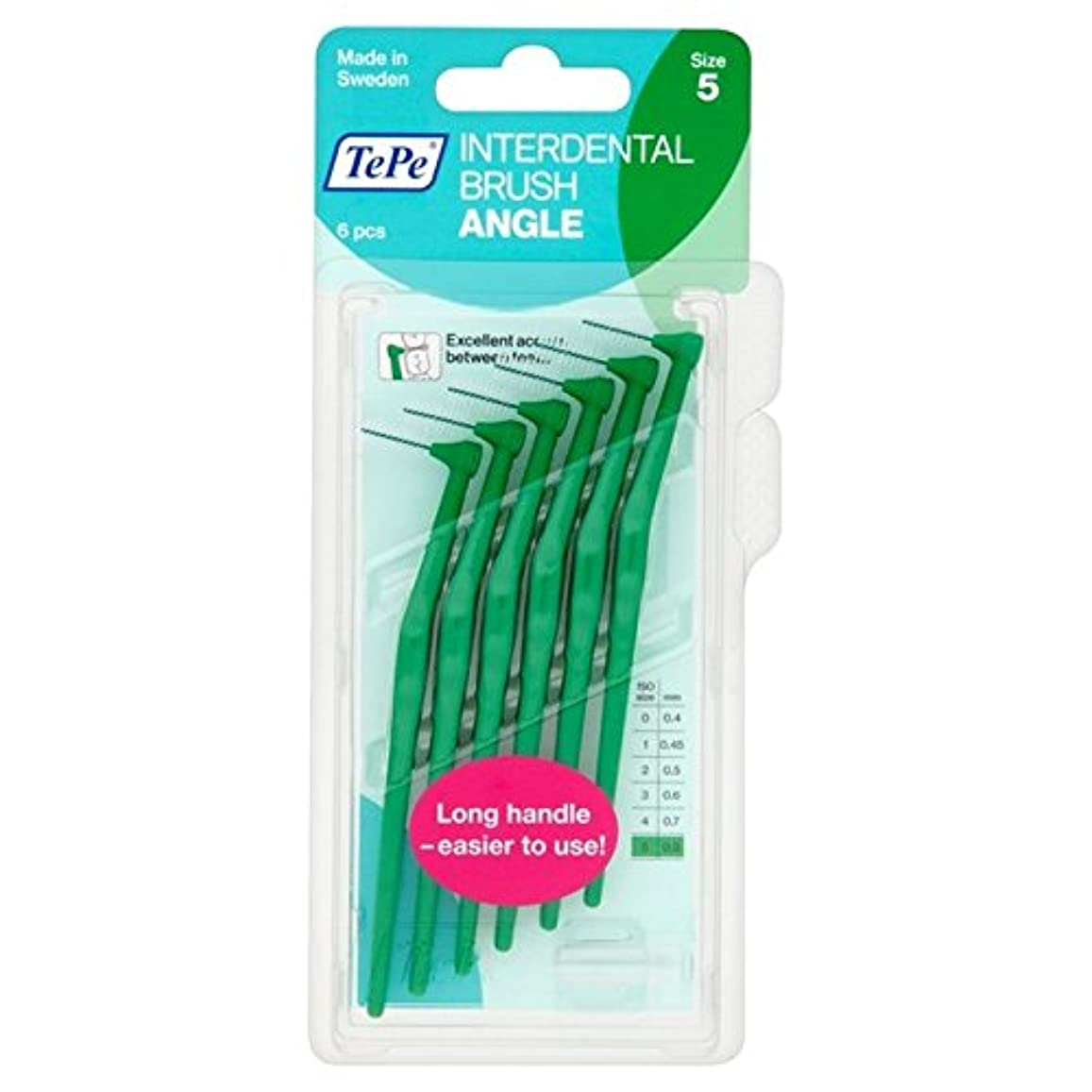 麦芽無秩序バルセロナパックあたり6 0.8ミリメートル緑テペ角度 x2 - TePe Angle Green 0.8mm 6 per pack (Pack of 2) [並行輸入品]