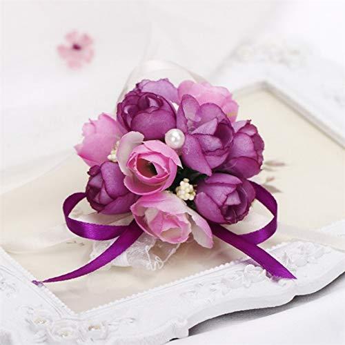 SSB-TOUDAI, Poignet Artificielle Fleur Bande Élastique Enfants Danse Main Fleurs Demoiselle d'honneur De Bal De Mariage Filles Parti Mariée Décoration Fleur (Color : Light Pink)