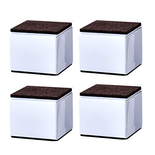 Möbelerhöher Betterhöhung Möbelerhöhung aus Karbonstahl Tischerhöher,5CM Höhe 4St Füße zur Erhöhung von Schränken, Selbstklebende Möbelfuss Sofafuss Sockelfuss Möbelgleiter,Quadrat(white60x52mm)
