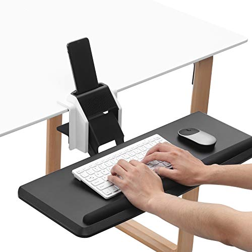 Saemoza Adjustable Keyboard Tray, Sturdy C Clamp Mount System Adjustable Height and Angle, Ergonomic Design Keyboard Tray for Long-Term Use and Fatigue Reduction