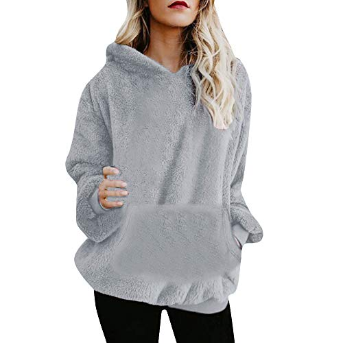 Mujer Caliente y Esponjoso Tops Chaqueta Suéter Abrigo Jersey Mujer Otoño-Invierno Talla Grande Hoodie Sudadera con Capucha riou (1-Gris, S)