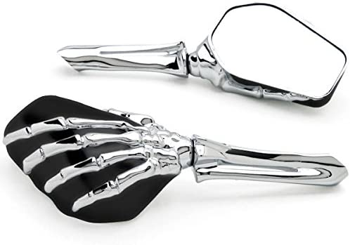 Krator Chrome Black Skeleton Motorcycle Compatible Hand Mirrors Challenge the lowest price Max 52% OFF