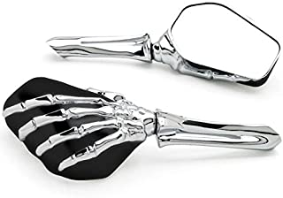Krator Chrome and Black Skeleton Hand Mirrors Universal Motorcycle Cruiser M8 M10 H-D Chrome/Black Skeleton Hand Motorcycle Mirrors
