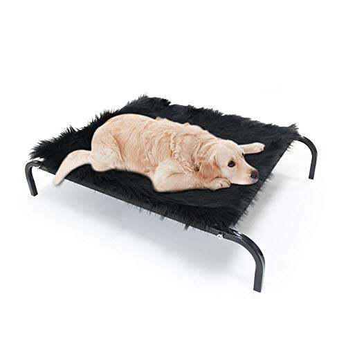 Erhöhtes Haustierbett mit eine Matte – Atmungsaktive Hundeliege Outdoor, Haltbares Hundebett für Draußen, Strand Wasserfest, Kühles Liegeplatz Hund für Outdoor und Garten, Feldbett für Hunde, L