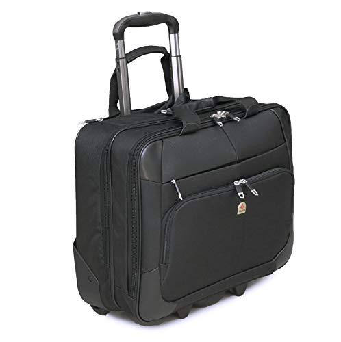 Tassia Large Wheeled Laptop Case Roller Bag Pilot Case 15.6' Laptop Bag - Overnight Compartment - 28 litres - Unisex Laptop Briefcase Business Bag, Flight Case Travel Bag