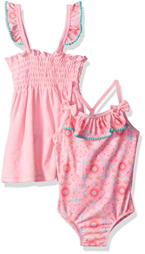 Baby Buns Girls' Toddler Tribal Cutie Terry Cover Up Swim-Set, Multi, 4T