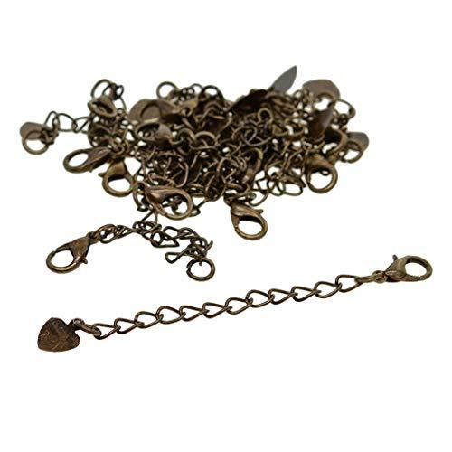 Fenteer 20 Sets Halskette Armband Verschlüsse Verlängerungskette Kettenverschluss für DIY Schmuck Basteln - Bronze-