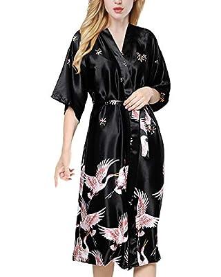 ETAOLINE Womens Satin Kimono Robe Printed Bathrobes Bridal Dressing Gown