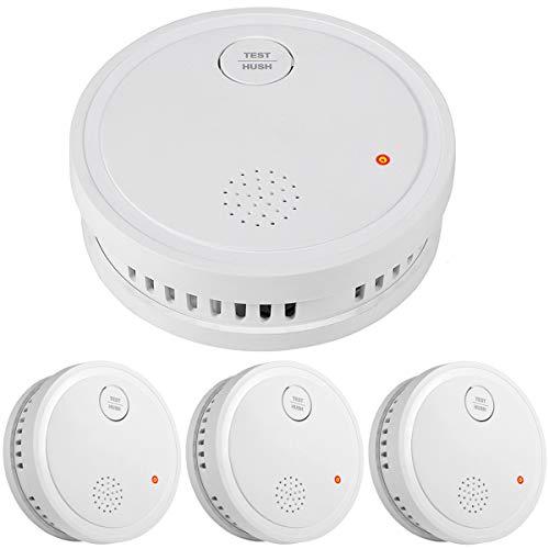 Semoss 3 Piezas Alarma de Humo Inalámbrico para Case,Fotoeléctrico Sensor Detectores de Incendios con Batería de 10 Años,Certificado TÜV EN14604
