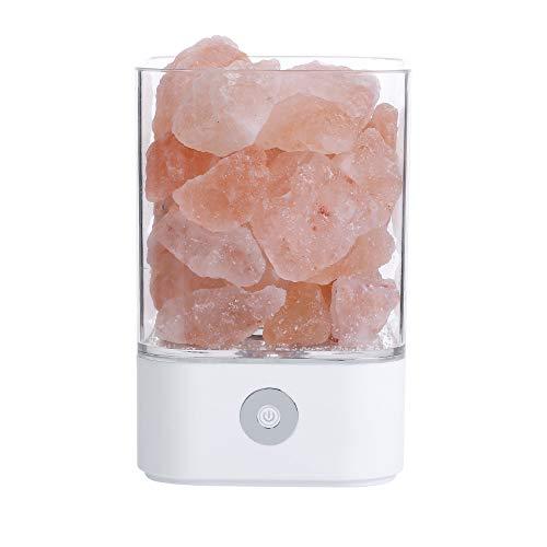 GAONAH Lampe à Sel De L'Himalaya, Cristal De Roche Naturel, 7 Couleurs, Lumière Salée, Design à Bassin Et Gradateur Tactile, Ampoules LED (Blanc, Noir),White-9.4cm*14.1cm