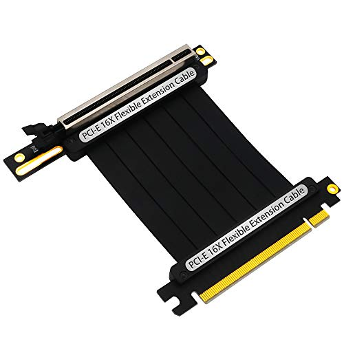 PCIe Riser Cable,PCI-E x16 3.0 Extender Riser Cable 200mm Graphic Cards with 3.3v/12v Power LED Updated Version(pcie 16X 90 Degree Cable)