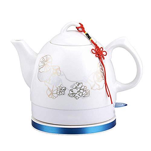 Hervidor eléctrico de cerámica, tetera de agua inalámbrica de 1 litro, apagado automático inalámbrico de ebullición rápida, té de preparación rápida, sopa de café, oficina en casa, estilo vintage, B
