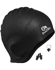PrimAlite Swimming Cap- Long & Short Hair with Ear Pocket, Waterproof Silicone Swim Caps Keeps Hair Clean, Non-Slip Ergonomic Design Comfortable & Durable- Adults Men Women Kids