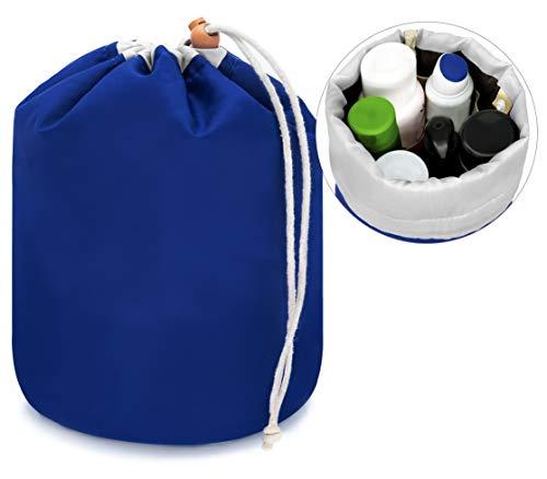 MyGadget Beauty Case Donna - Porta Trucchi Cosmetici - Trousse da Viaggio con Mini Pochette - Make Up Case - Necessaire con Chiusura a Laccio - Blu
