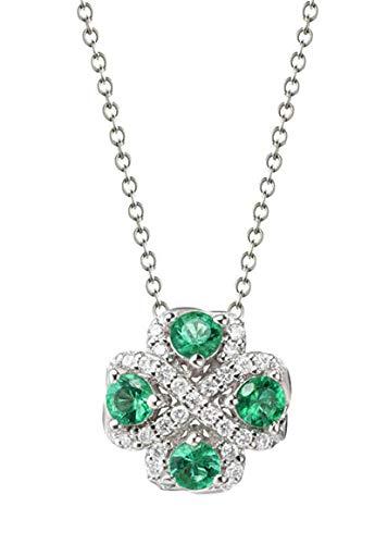 Aartoil Mujer oro blanco 18 quilates (750) redonda Green White Emerald