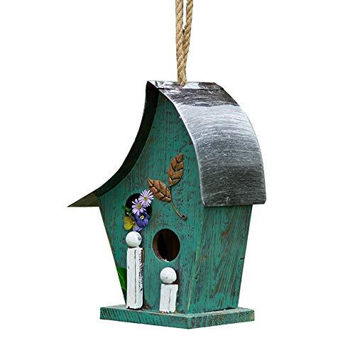 Outdoor Vogelhuisje Met De Hand Beschilderde Houten Vogelhuisje Hangende Tuin Buiten Outdoor Decoratieve Vogel Huis Tuin Decoratie (Color : Green, Size : 13x15x29cm)