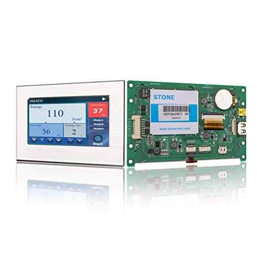 Pantalla Módulo HMI TFT LCD de 4.3 pulgadas con controlador táctil del programa de interfaz serie UART y marco de metal