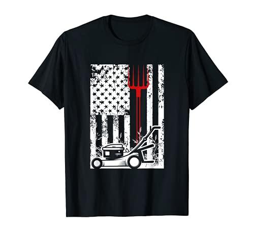 American Flag Farmer Life Tractor Farming Cortacésped regalo Camiseta