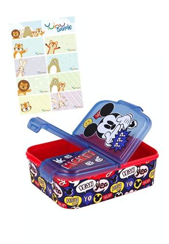Mickey Mouse Lunchdoos Brooddoos Kinderlunchbox met 3 afzonderlijk afsluitbare compartimenten + naamstickers voor…