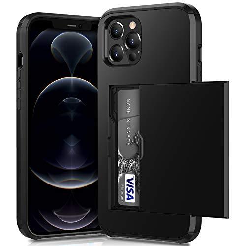 ACOCOBUY Compatible con iPhone 12 Pro Max Funda a Prueba de Golpes Funda tipo Cartera para iPhone 12 Pro Max con tarjetero protectora de doble capa, funda de goma para iPhone 12 Pro Max Negro