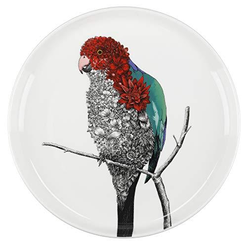 Maxwell & Williams Marini Ferlazzo Birds Decorative Side Plate with Australian King Parrot Design, Gift Boxed, Fine China, White, 20 cm