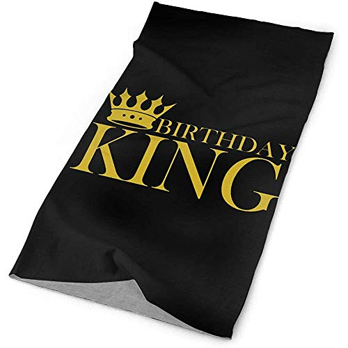 Gold Birthday King Multifunctional Headband Sports Magic Scarf, Neck Gaiter,Balaclava Headwear,Bandana