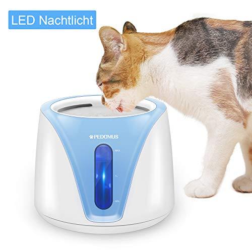 PEDOMUS 2L Katzenbrunnen Trinkbrunnen für Katze mit Filter Automatisch Katzen Trinkbrunnen Wasserbrunnen Haustier Hunde Wasserspender Katzentrinkbrunnen Leise Blaulicht LED