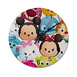 MEIMEI 12 inch Wooden Indoor Silent Decorative Battery Operated Lager Wall Clock for Living Room Home Office School Rustic Clock Round Wall Clock-Minnie Tigger Babe