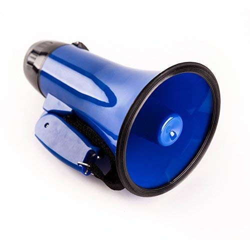 Sugar home Portable Megaphone 20 Watt Power Megaphone Speaker Bullhorn Voice and Siren/Alarm Modes with Volume Control and Strap (Blue)