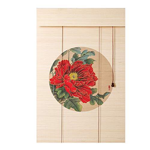 YJFENG Persianas Enrollables De Bambú, 70% Apagón Cortina Colgante Impresión De Sombras con Accesorios, Pantalla Retro, para Gazebo, Patio (Color : D, Size : 135x120cm)