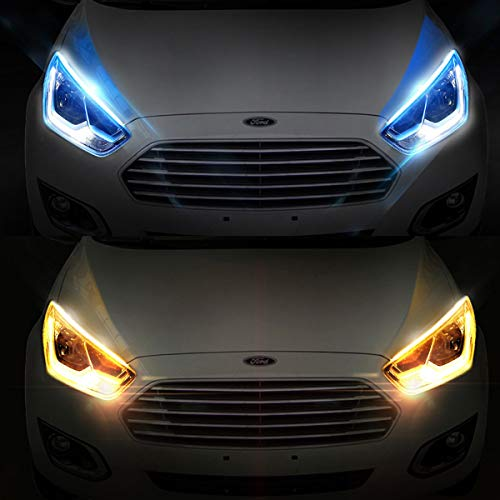 2Pcs 18 Inches DRL LED Light Strip, Car Flexible Daytime Running Lights Ice blue-Amber Dual Color Sequence LED Strip Tube Switchback Headlight & Turn Signal Lights Tube Fit for Any 12V Cars
