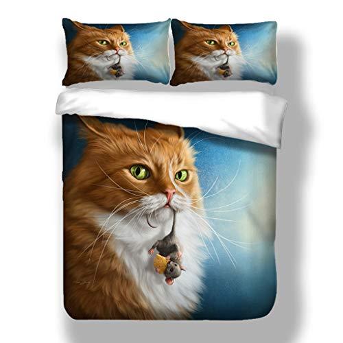 SSLLC - Funda de edredón con diseño de animal, estampado en 3D, diseño de gato y moto, diseño de gato