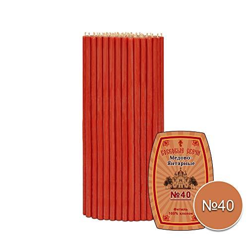 Diveevo 50 St (ca. 500 g) Altarkerzen Rote Festliche Orthodoxe Bienenwachskerzen (geweiht) 26,5cm N40