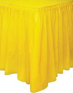 Unique Party- Falda de mesa de plástico, Color amarillo, 420 cm (50048)