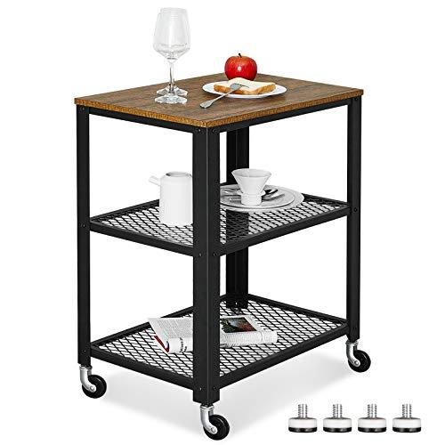 Meerveil Carrello di industriale cucina con rack di stoccaggio a 3 piani, Tavolino vintage con ruote, Mobili esterni in legno e telaio in metallo, Adatto per cucina, soggiorno, bagno e camera da letto