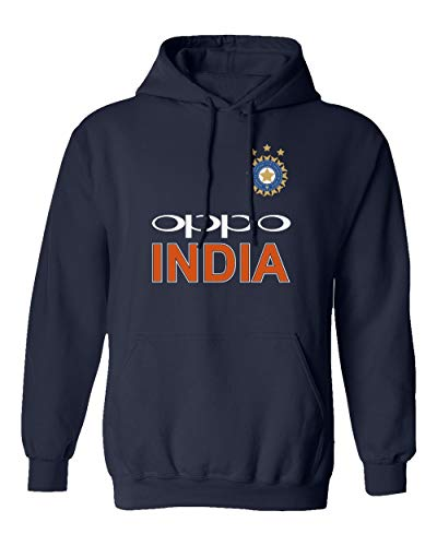 SMARTZONE Cricket India Jersey Style Cricket New Oppo Fans Supporter Men's Hooded Sweatshirt (Navy, Large)