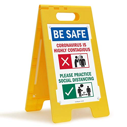SmartSign Coronavirus Awareness Floor Sign, Please Practice Social Distancing A-Frame Sign, 25x12 Inches Plastic, Easy to Carry, Portable, Double-Sided