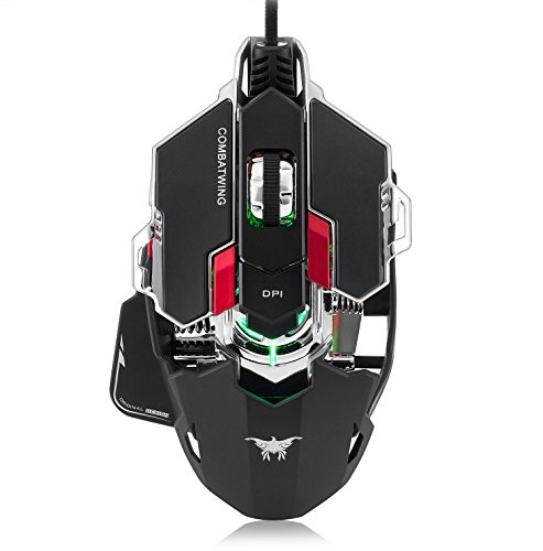Gaming Mouse,Mictchz 4800 DPI Optical USB Wired Professional Gaming Mouse Programmable 10 Buttons RGB Breathing LED Mice for mac PC (Black)