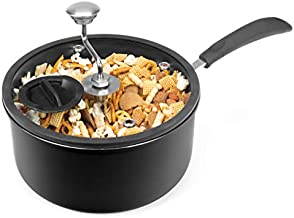 Zippy Pop Black Stovetop Popcorn Popper, 4-Quart, NEW 2020 Model, Glass Lid with Silicone Rim, Dishwasher Safe, Easily Make Classic or Flavored Popcorn, Recipes Included