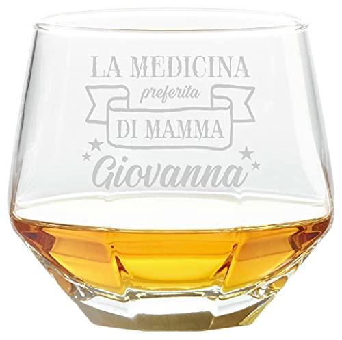 Colorfamily Bicchiere da Whisky Mamma Personalizzabile Diamante Diamond Glass Tumbler inclinabile Festa della Mamma La Medicina Preferita di Mamma - Bicchiere in Vetro 36 cl