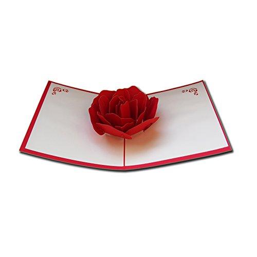 LivelyBuy - Cartoline pop-up, biglietto d'auguri 3D con rose rosse, ideale per festa di compleanno o per accompagnare un regalo ad un amico